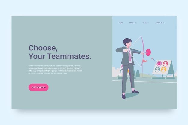 Escolha da página de destino do conceito de trabalhador