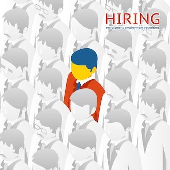 Escolha da pessoa na multidão para contratação.