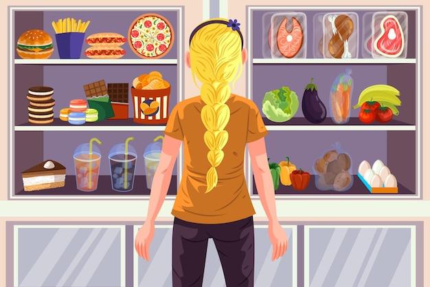 Escolha de personagem entre comida saudável e rápida