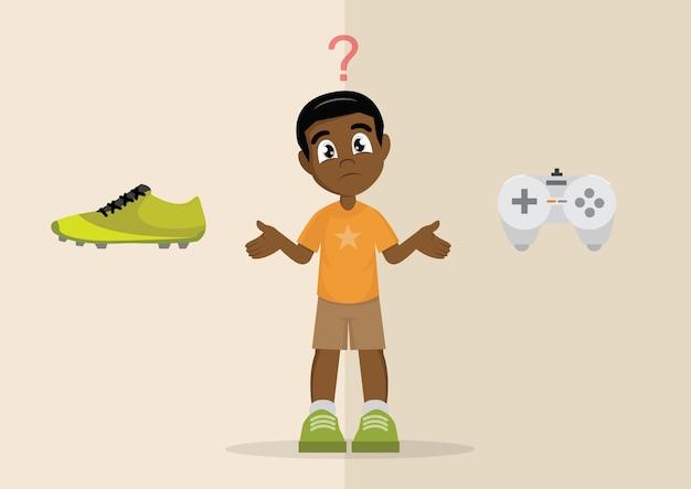 Escolha do menino africano entre jogos de esporte ou jogos