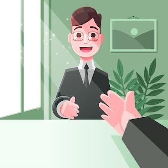 Escolha feliz empregado do conceito de trabalhador