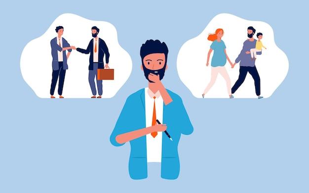 Escolha masculina. família ou carreira, homem pensativo. cara pensando no futuro. paternidade ou ilustração de negócios.