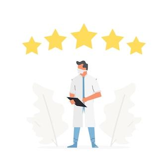 Escolha o médico para consulta classificação de cinco estrelas equipe médica analisa ilustração vetorial
