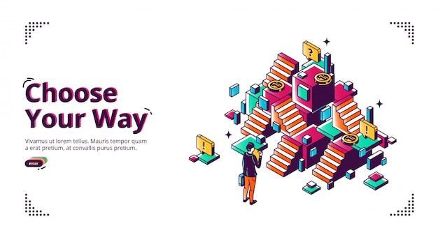 Escolha o seu caminho, faixa de desenvolvimento de carreira