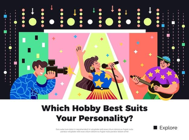 Escolha um hobby adequado à sua personalidade. banner colorido e brilhante com cantor, guitarrista e fotógrafo