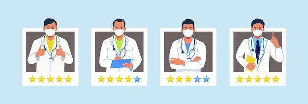 Escolha um médico para consulta, classificação de cinco estrelas. feedback sobre a equipe médica. melhores perfis de médicos para análise de pacientes. site da telemedicina para comparação de avaliações sobre terapeutas