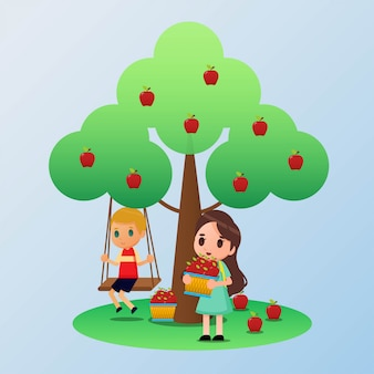 Escolhendo a ilustração de frutas de maçã