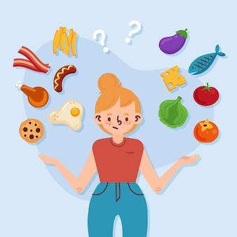 Escolhendo entre alimentos saudáveis ou não saudáveis com a mulher