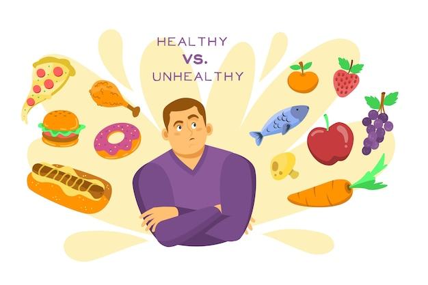Escolhendo entre alimentos saudáveis ou não saudáveis com homem indeciso