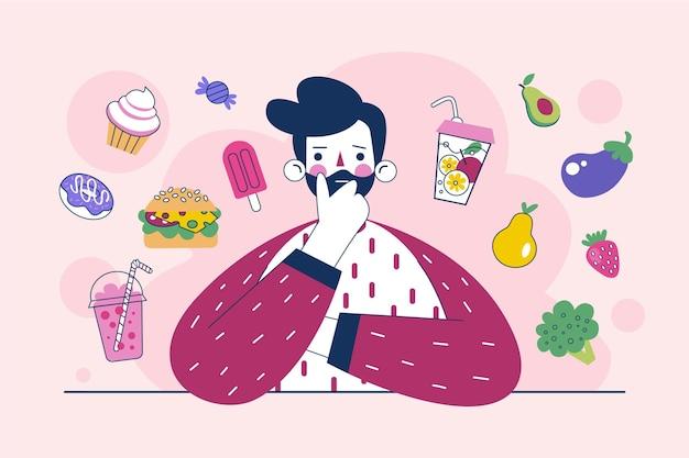 Escolhendo entre alimentos saudáveis ou não saudáveis