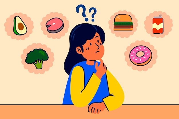 Escolhendo entre personagem de mulher saudável e junk food