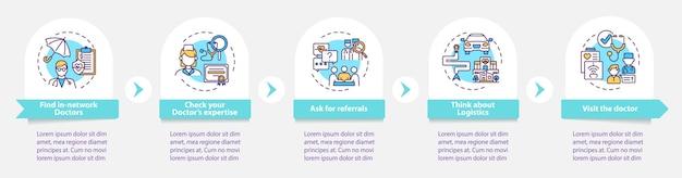 Escolhendo modelo de infográfico de dicas para médicos de cuidados primários