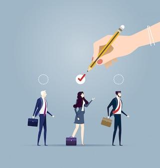Escolhendo o melhor candidato para o conceito de trabalho. ilustração do conceito de negócio