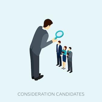 Escolhendo uma ilustração do conceito de candidato
