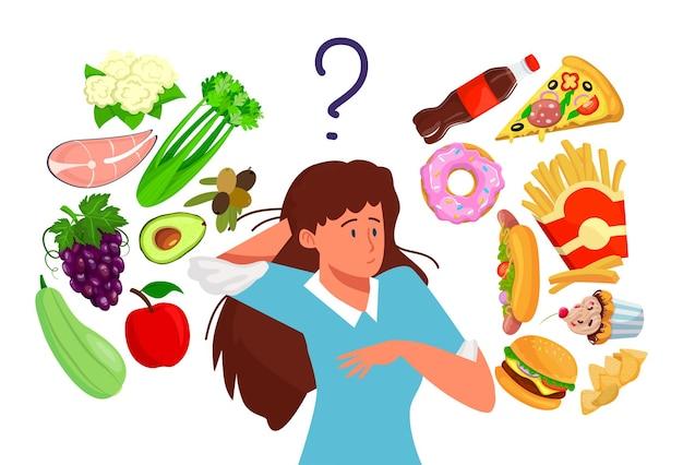Escolher entre comida saudável e comida rápida