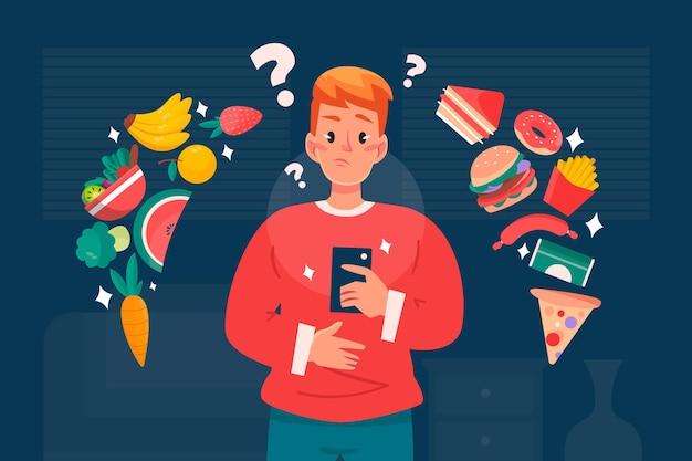 Escolher entre ilustração de alimentos saudáveis ou não saudáveis
