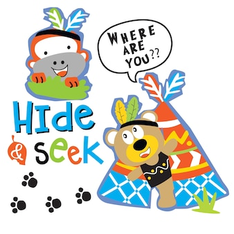 Esconde e procuram vetores animais de desenhos animados