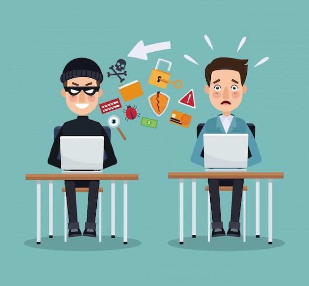Escopo da cor, ladrão, hacker, programador, homem, mesa, laptops, prevenção, ataque