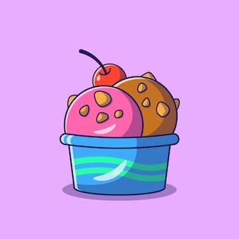 Escopo de sorvete com cobertura de amêndoas em uma tigela com ilustração plana de cereja isolada