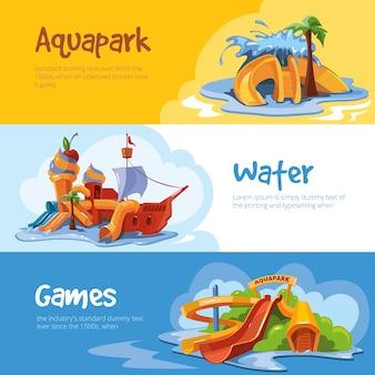 Escorregas aquáticos em um banner de parque aquático