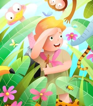 Escoteira na aventura na selva africana à procura de animais da aventura de crianças felizes do mato