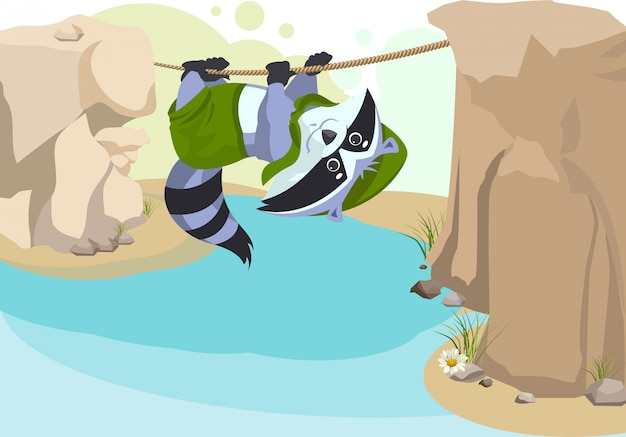 Escoteiro guaxinim corda alpinista. escoteiro cruzando o rio na corda