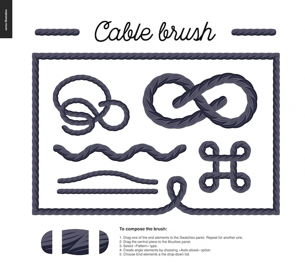 Escova de cabo - escova de vetor de detalhe de corda com elementos de fim e alguns exemplos de uso - nós, loops, quadros.