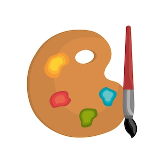 Escova de cor de pintura de paleta de desenhos animados isolada