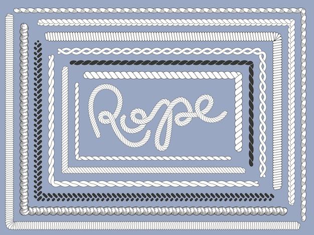 Escova de corda. cordas marinhas, trança trançada textura trança conjunto de escovas de corda isolado