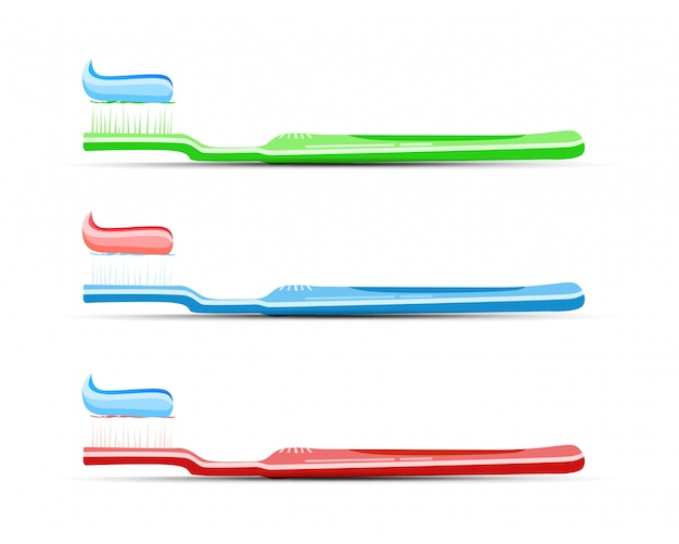 Escova de dentes com creme dental com variações de cores