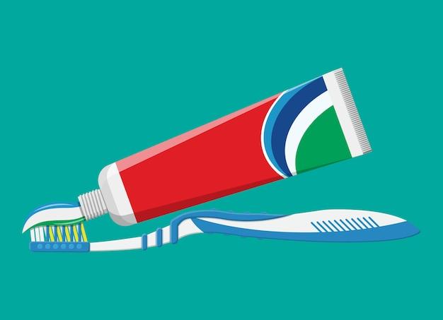 Escova de dentes, creme dental. escovando os dentes.