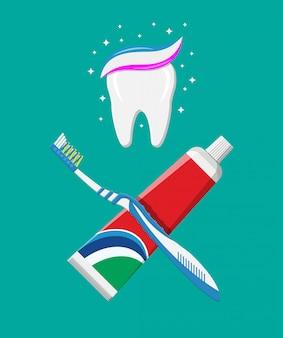 Escova de dentes, creme dental no tubo