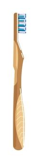 Escova de dentes de bambu de madeira isolada em fundo branco