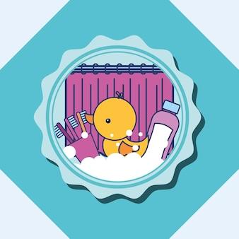 Escova de dentes de pato de borracha e banheiro de bandeira de xampu