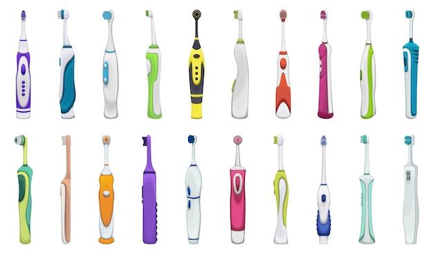 Escova de dentes elétrica do conjunto de ícones de desenho vetorial dental. escova de ilustração vetorial coleção de dental sobre fundo branco. conjunto de ícones de ilustração isolado dos desenhos animados de escova de dentes para web design.