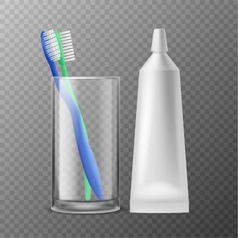 Escova de dentes em vidro. higiene dental matinal, escovas de dente realistas com pasta de tubo, produtos de higiene para proteção, saúde, dentes, hálito fresco, acessório odontológico, ilustração vetorial isolada