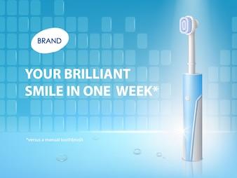 Escova de dentes realista 3D no cartaz do anúncio. Banner promocional com produto de higiene.