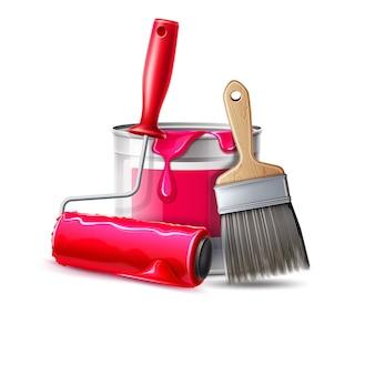 Escova de ferramenta de pintor de parede realista de vetor, rolo e balde com tinta rosa
