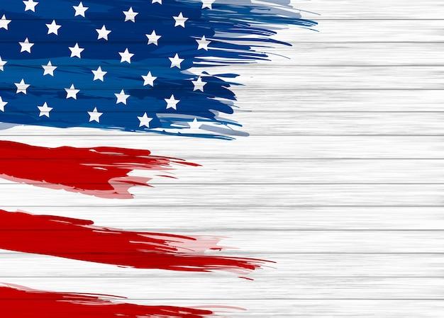 Escova de pintura da bandeira dos eua no fundo de madeira branco