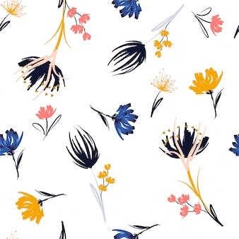 Escova de pintura na mão delicada na moda floral sem costura padrão de repetição com flores