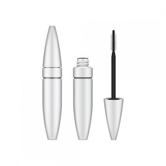 Escova de rímel. rímel em branco, branco, tubo fechado e aberto com pincel. ilustração do recipiente do produto cosmético