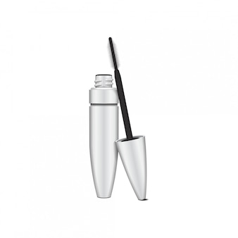 Escova de rímel. tubo aberto de rímel em branco, branco com pincel. ilustração do recipiente do produto cosmético. sobre fundo branco
