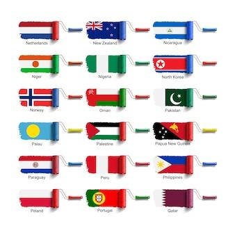 Escova de rolo com bandeira nacional