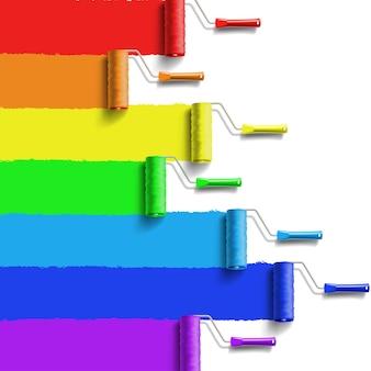 Escova de rolo com tinta de cores do arco-íris