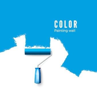 Escova de rolo de pintura. pinte a textura ao pintar com um rolo. pintando a parede em azul. ilustração em fundo branco