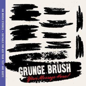 Escova de tinta preta, escovas, linhas definidas. elementos de design artístico sujo