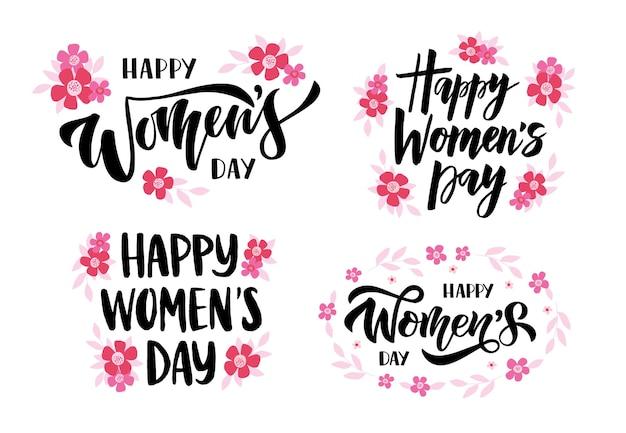 Escova desenhada de mão lettering feliz dia da mulher.