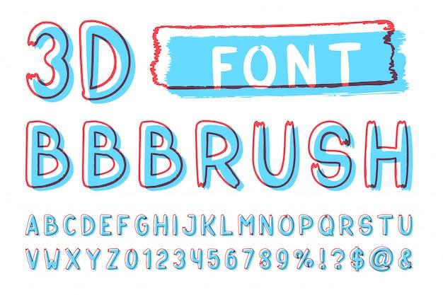 Escova em negrito 3d sem fonte serif