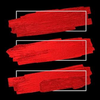 Escova vermelha stoke textura em fundo preto com moldura de linha branca