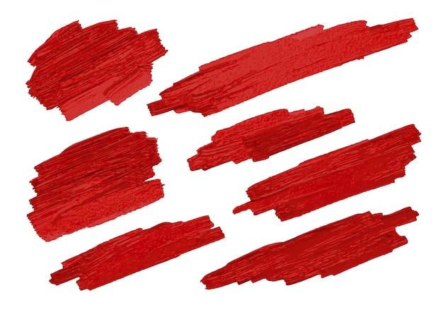 Escova vermelha stoke textura no fundo branco